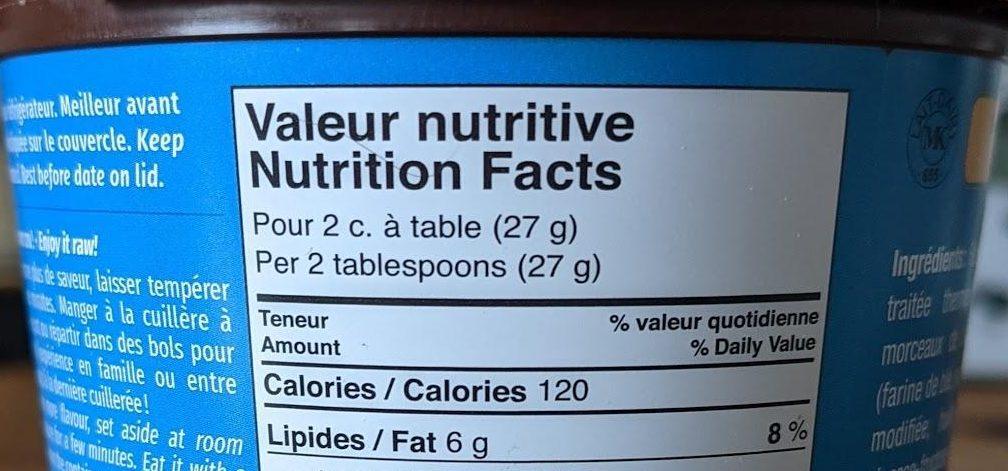 Valeur nutritive - Pour 2 c. à table (27 g)